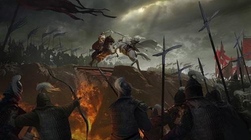 平之战交战�9��y�+_在史诗般宏达的气氛渲染下黄沙滚滚的北方战场,江河纵横的水域之战